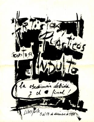 Artistas plásticos contra el Indulto [Afiche de la exposición colectiva de artistas en repudio a las leyes promulgadas por el presidente argentino Carlos Menem, que indultaban a civiles y militares que cometieron crímenes durante la última dictadura argentina] 1989