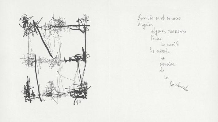 Interior de Escrito en el aire, 1964  Libro con poemas de Rafael Alberti y dibujos de León Ferrari.  Editorial All´insegna del pesce d´oro, Milán.